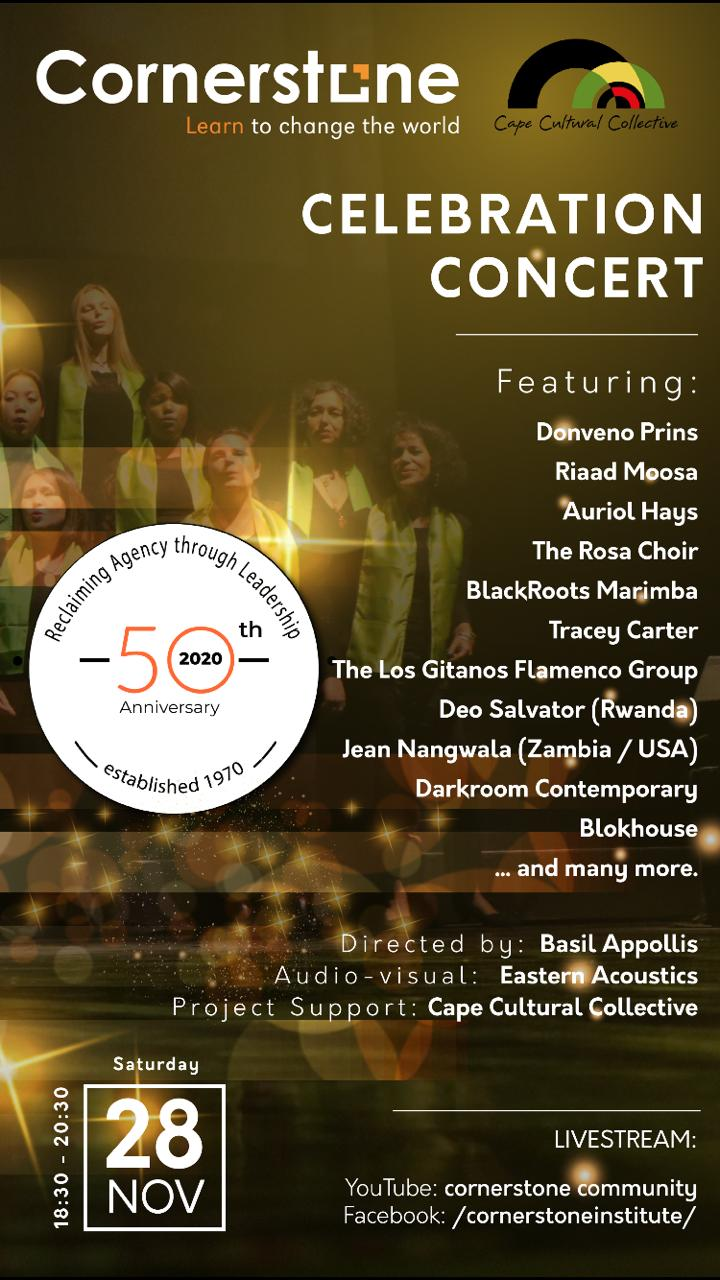 Cornerstone and Cape Cultural Collective 50th anniverary online concert.